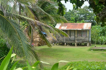 Traditional wooden house of Creole people living on the Caribbean coast of Nicaragua. Great Corn Island. Central America
