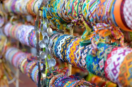 Colorful friendship bracelets sold in famous Masaya Market (Mercado de Artesanias de Masaya) in Nicaragua Stock Photo
