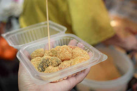 Delicious sweet mochi with peanuts sold at a street stall in Kuala Lumpur, Malaysia