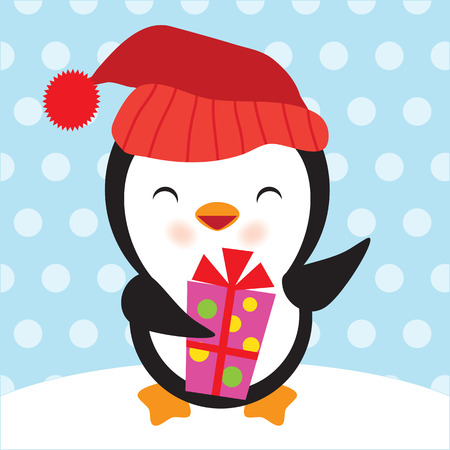 christmas cute: Penguin vector illustration