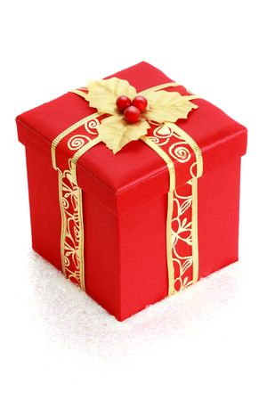 christmas gift: red christmas gift box, white background