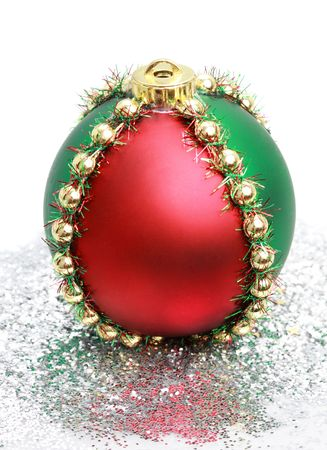 decoration: red, green and gold Christmas ornament