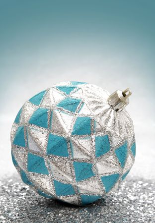 decoration: old blue and silver Christmas ornament LANG_EVOIMAGES