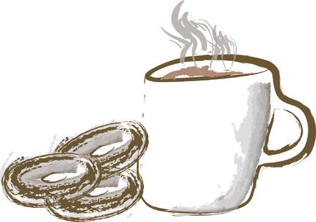 koffie en donut Stock Illustratie