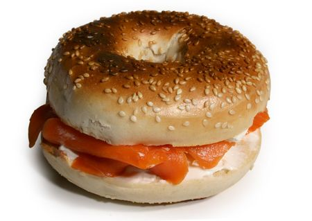 sesame bagel with smoked salmon and cream cheese