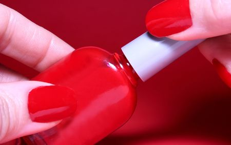 Closeup on a red nail polish