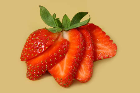 closeup on fresh sliced strawberry
