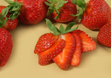 closeup on some fresh sliced strawberries