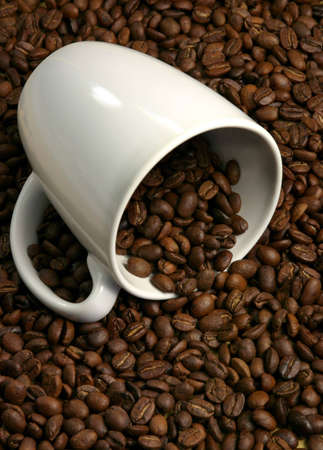 whole coffee grains and cup Stock Photo - 1195100