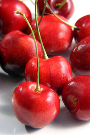 bunch of whole fresh red cherries