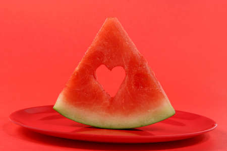 sliced water-melon with heart hole
