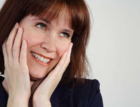 closeup portrait of an happy woman