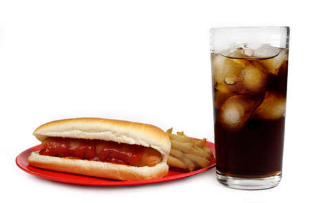 junkfood: hot-dog, french fries and cola Stock Photo