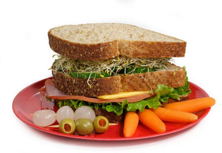 healthy sandwich served on a red plate photo