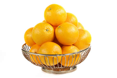 stainless basket full of navel orange