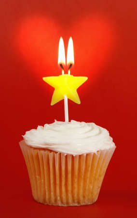 homemade cupcakes with star candle and heart Stock Photo - 2447905
