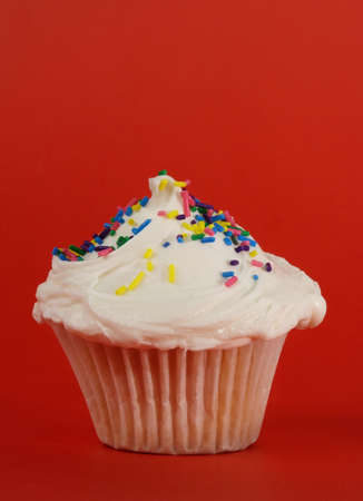 fresh homemade cupcakes with icing and candies Stock Photo - 2447901