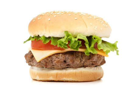 Homemade hamburger isolated on white