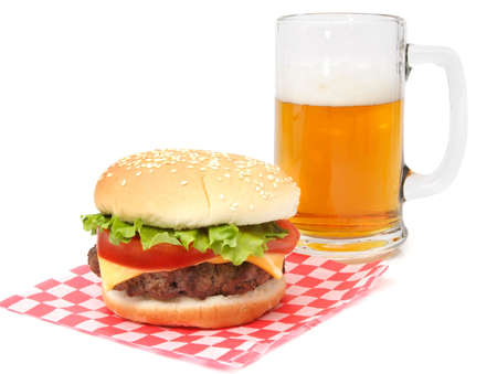 hamburger on wrapping paper Imagens