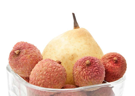 asian pear: asian pear with some fresh lychees Stock Photo