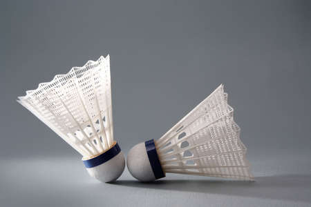 nylon: two nylon badminton shuttlecock  Stock Photo