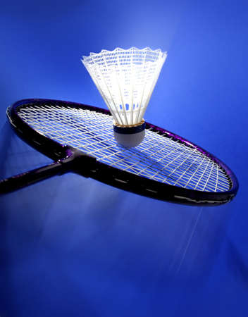 nylon badminton shuttlecock with blue background