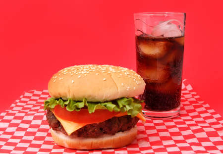 icecube: nice hamburger with a glass of cola and icecube
