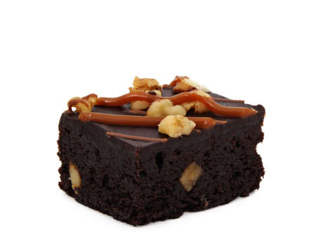 brownies with nuts, isolated on white Standard-Bild