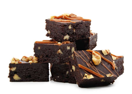 brownies with nuts, isolated on white Stock Photo
