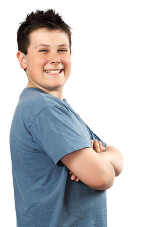 closeup portrait of a proud happy young teen boy