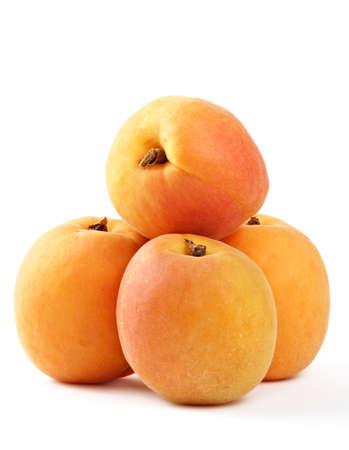 four fresh apricot fruit isolated on white