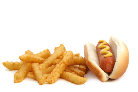 hot-dog with french fries, isolated on white
