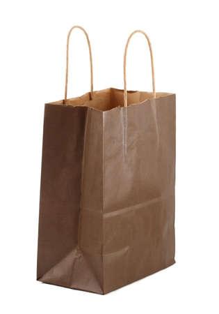 Brown shopping bag, white background Standard-Bild
