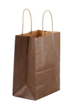 Brown shopping bag, white background Stock Photo