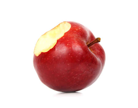 red apple with a bite missing, white  Standard-Bild