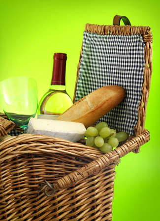closeup on picnic basket filled with food and wine Stock Photo - 3630156