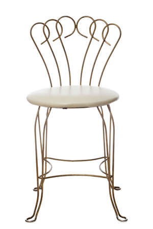 vintage furniture: wrought iron old-fashion chair, white background
