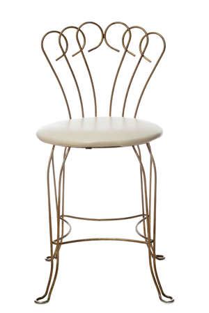 wrought iron old-fashion chair, white background