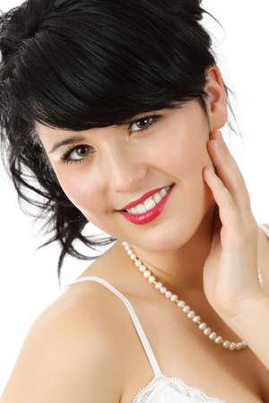 fake smile: young woman