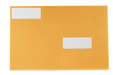 yellow mailing envelope with white address stickers