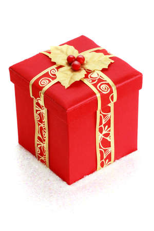 red christmas gift box, white background