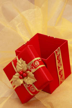 Rode kerst geschenk doos