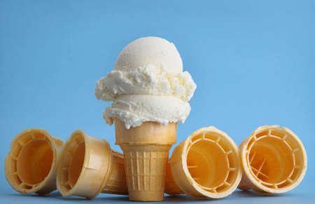 빈 웨이퍼 아이스크림 콘 스톡 콘텐츠