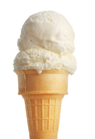 vanilla ice cream cone, white background Imagens