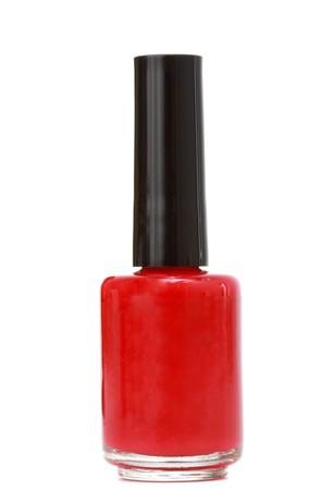 nail polish bottle: bottle of red nail polish, white background