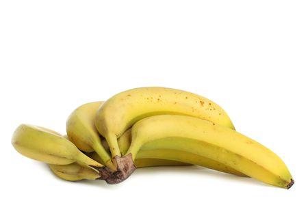 bunch of fresh ripe yellow bananas, isolated on white