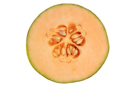 fresh cantaloupe isolated on white