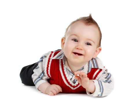 adorable 8 months caucasian baby boy, isolated on white Standard-Bild