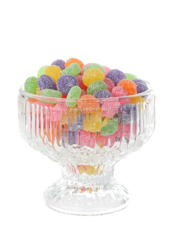 colorful jelly candies in a fancy glass bowl
