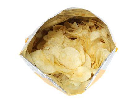 bag of potato chips isolated on white background Banco de Imagens